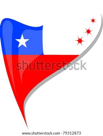 chile flag button heart shape. vector - stock vector