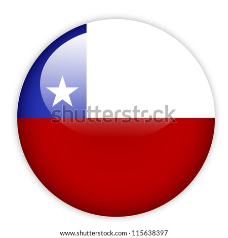 Chile flag button on white