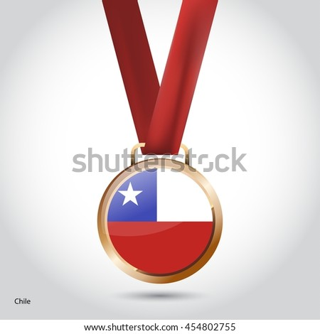 Chile Flag in Bronze Medal. Olympic Game Bronze Medal. Vector Illustration - stock vector