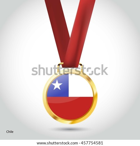 Chile Flag in gold Medal. Vector Illustration. RIO Olympic Game gold Medal. Vector Illustration