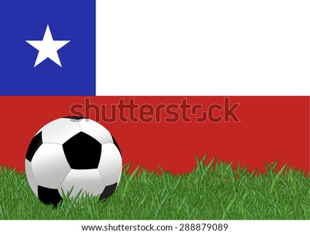 Chile flag with soccer ball on the yard , EPS10 - stock vector