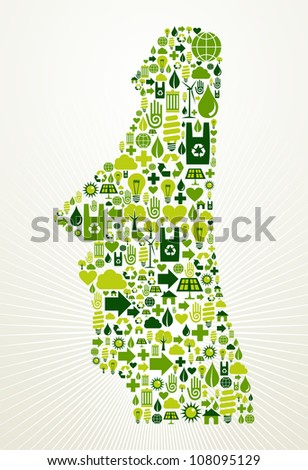 Chile go green. Eco friendly icon set in Easter Island shape illustration background. Vector file layered for easy manipulation and custom coloring. - stock vector