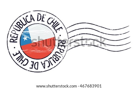 Chile grunge postal stamp and flag on white background