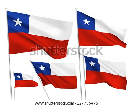 Chile vector flags. A set of 5 wavy 3D flags created using gradient meshes - stock vector
