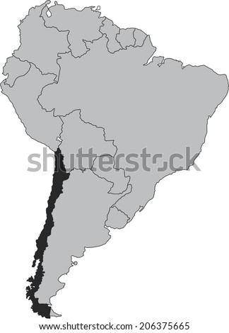Chile vector map isolated on white background with borders of South America