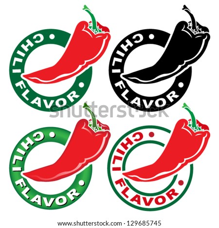 Chili Flavor Seal / Mark - stock vector