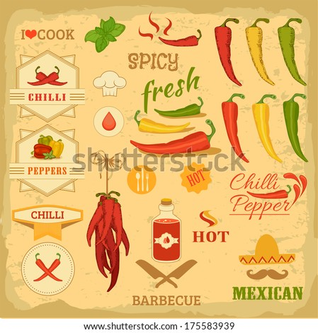 chilli spice, chili, isolated pepper vegetables, mexican food label design - stock vector