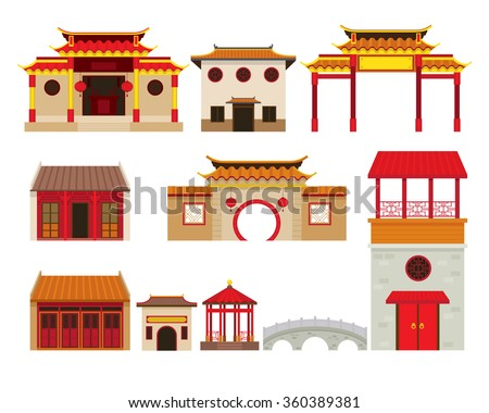 China Building Objects Set, Travel Attraction, History, Traditional Culture - stock vector