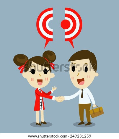 china businesswoman handshake  with cooperation.  - stock vector