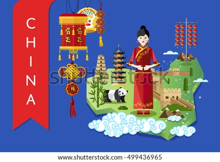 China famous traditional landmarks and travel map with asian girl on blue background, vector illustration. Time to travel concept. Asian architecture and traditional symbols in flat design.