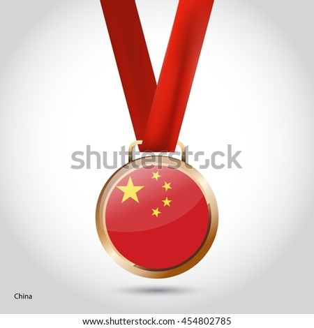 China Flag in Bronze Medal. Olympic Game Bronze Medal. Vector Illustration - stock vector
