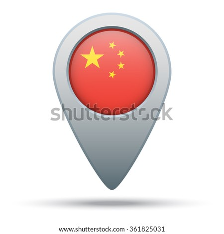 China flag map pointer - stock vector