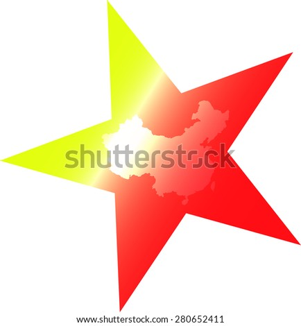 China flag vector and map outlines in a conceptual design, an abstract background of Chinese flag and map - stock vector