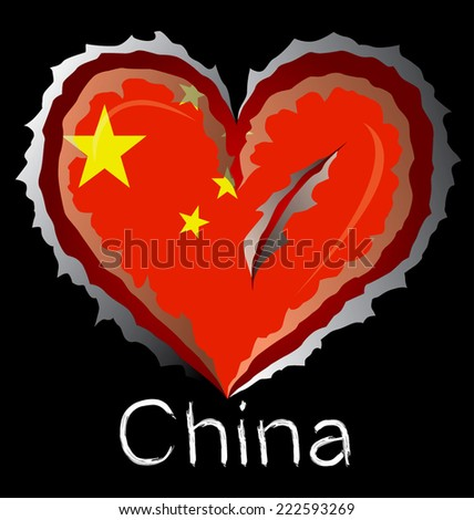 China flag with in claw scratches - stock vector