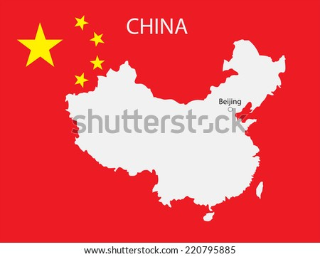 China flag with map inside.Vector illustration. - stock vector