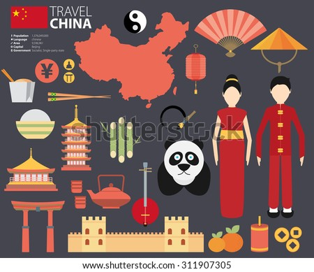 China Flat Icons Design Travel vector - stock vector