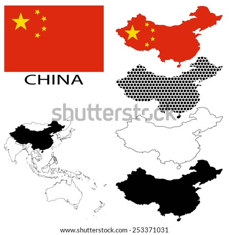 China - Four optional contour maps, National flag and Asia map vector - stock vector