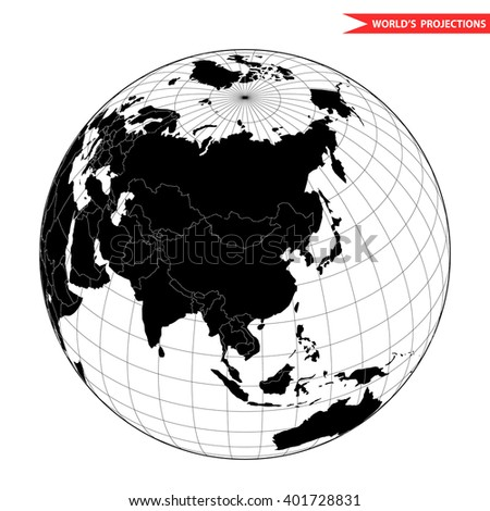 China globe hemisphere. World view from space icon. - stock vector