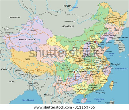 China - Highly detailed editable political map with labeling.