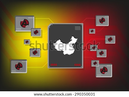 China Industrial and Technology Concept. Editable Clip Art. - stock vector