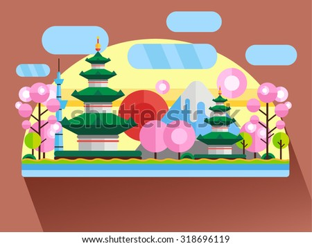 China, Japan. Colorful flat landscape with mountains, trees, pagoda, sakura, river, sky, red sun. National symbols. Asia - stock vector