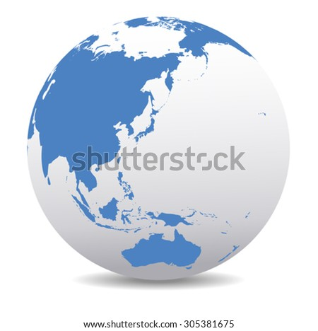 China, Japan, Malaysia, Thailand, Indonesia, Australia, Global World - stock vector