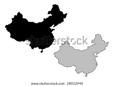 China map. Black and white. Mercator projection. - stock vector