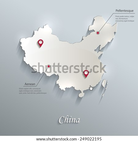 China map blue white card paper 3D vector infographics  - stock vector