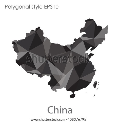 China map in geometric polygonal style.Abstract gems triangle,modern design background. - stock vector