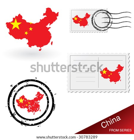 China map, stamps and postcard set from series - stock vector