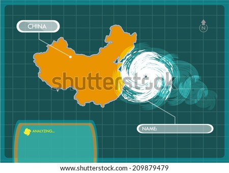 China Map with Eye of Typhoon, Cyclone or Storm Vector - stock vector