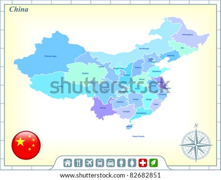 China Map with Flag Buttons and Assistance & Activates Icons Original Illustration - stock vector