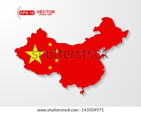 China map with shadow effect  - stock vector