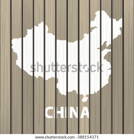 china map wood vector illustration