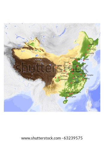 China. Physical vector map, colored according to elevation, with selected cities.  Surrounding territory greyed out. 73 named layers, fully editable. - stock vector