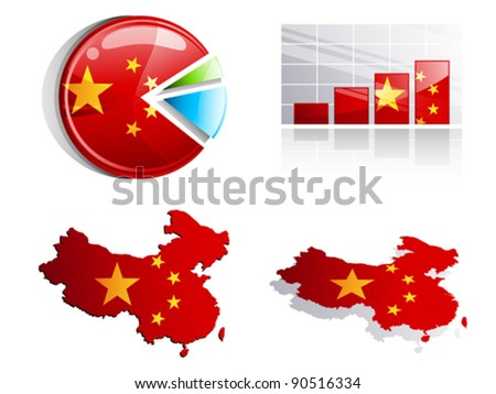China's diagrams and charts - economic growth - stock vector