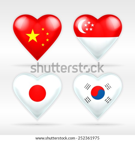 China,  Singapore, Japan, and South Korea heart flag set of Asian states as collection of isolated vector state flags icon elements on white - stock vector