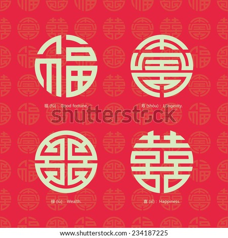 China traditional auspicious symbols and seamless background - stock vector