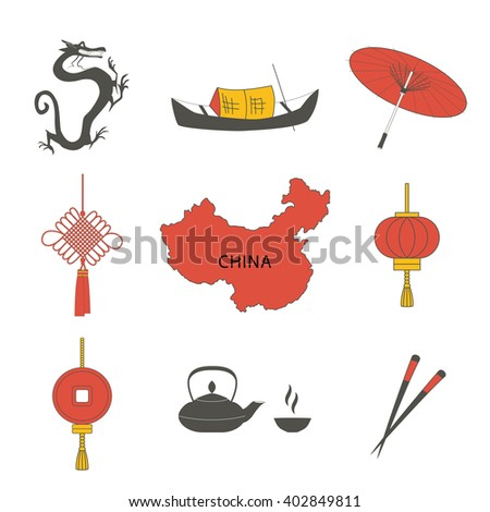 China travel asian traditional culture symbols icons set isolated vector illustration.