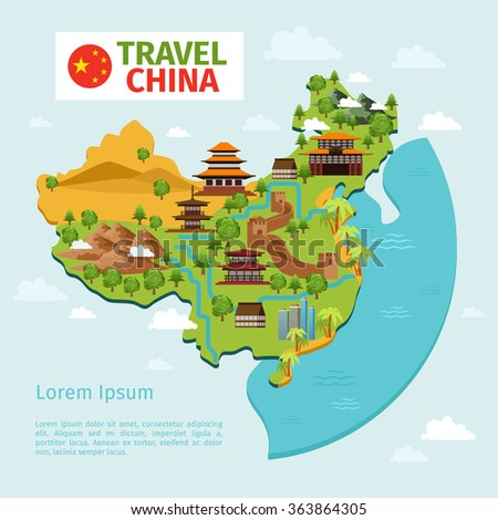 China travel vector map with traditional Chinese landmarks. Culture east asian, country tourism. China travel map vector illustration - stock vector
