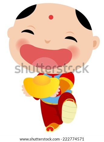 Chinese Boy - Happy Chinese New Year - stock vector