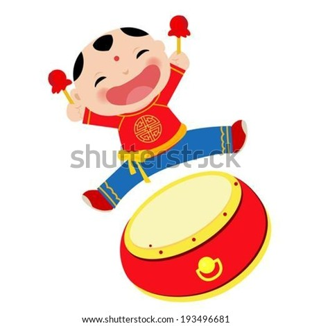 Chinese boy,happy new year - stock vector