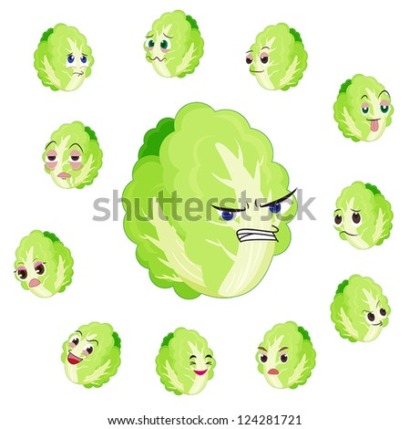 Chinese cabbage cartoon with many expressions isolated on white background