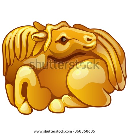 Chinese calendar, the Golden figurine isolated on white background. Vector illustration. - stock vector