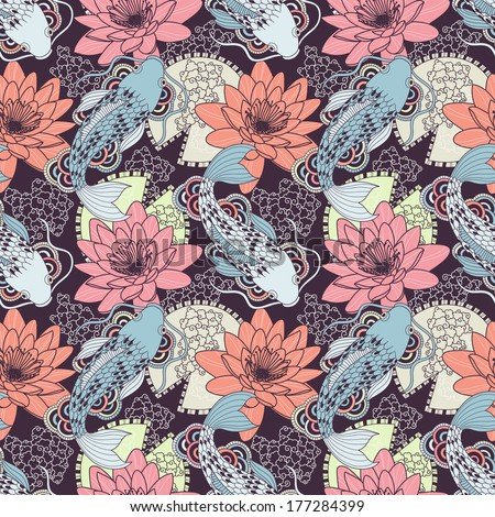 Chinese carps seamless pattern - stock vector