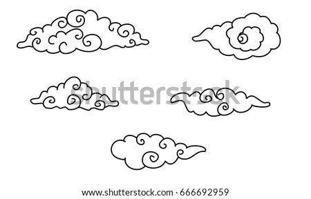 Chinese style clouds artwork vector stock vector 16491124 for Chinese clouds tattoos