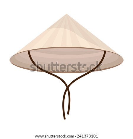 Chinese conical straw hat vector isolated on white