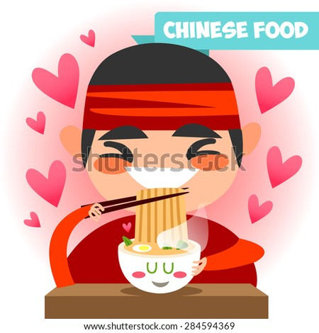 Chinese cook chinese food. Delicious and healthy Chinese food. Cartoon style flat. Chinese tradition. Funny Chinese chef in kimono. Asian cook. - stock vector