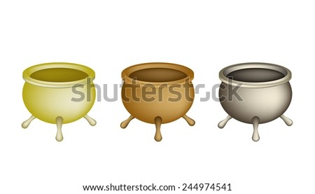 Chinese Cultural, Tree Brass Joss Stick Pots or Chinese Incense Burner Isolated on White Background.  - stock vector