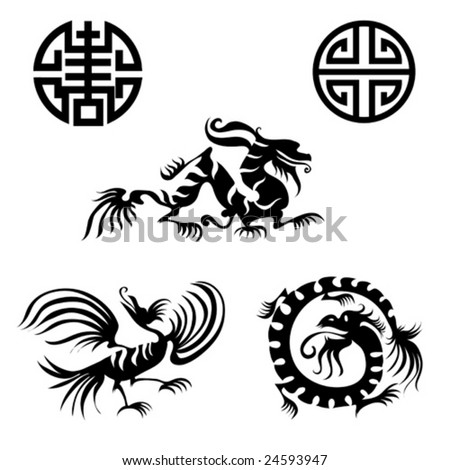 Chinese design elements - dragon, bird - stock vector